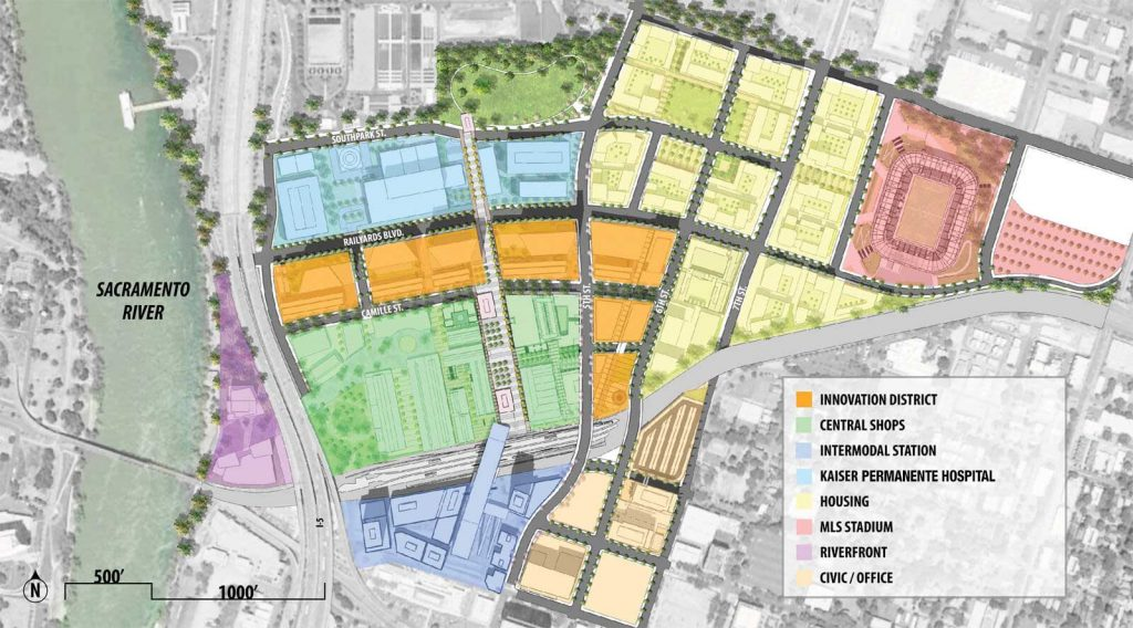 A map of proposed developments in the Railyards district.