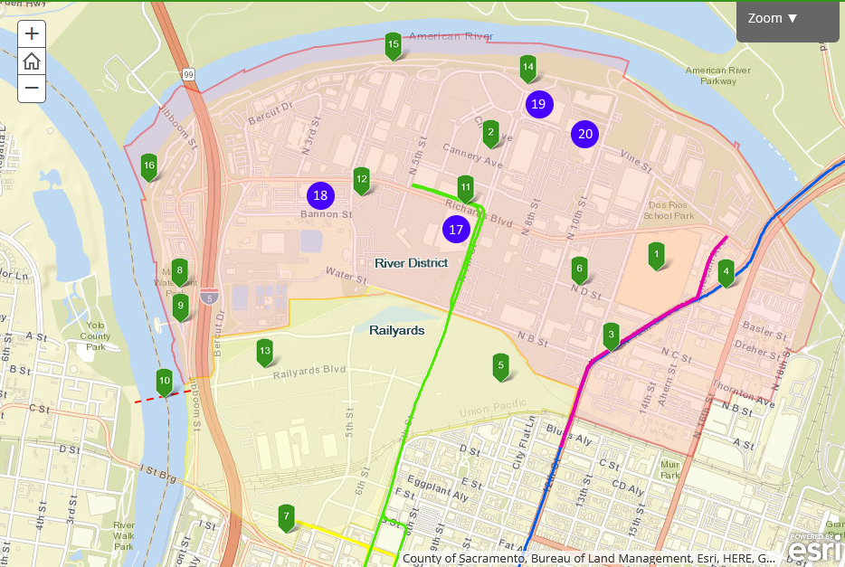 A map of points of interest in the River District.